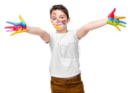 Photo for Schoolboy showing painted hands with smiley icons isolated on white - Royalty Free Image