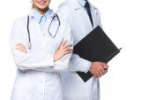 cropped image of doctors standing with stethoscope and clipboard isolated on white