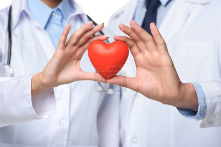 partial view of two doctors holding red heart in hands, isolated on white