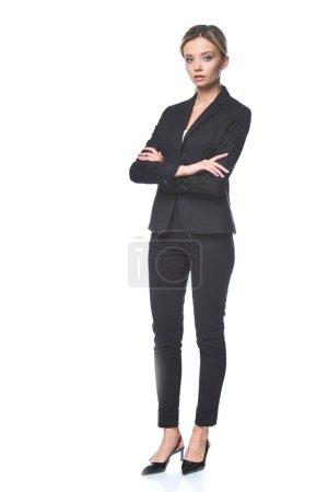 Photo pour Attrayant jeune femme d'affaires regardant caméra isolée sur blanc - image libre de droit