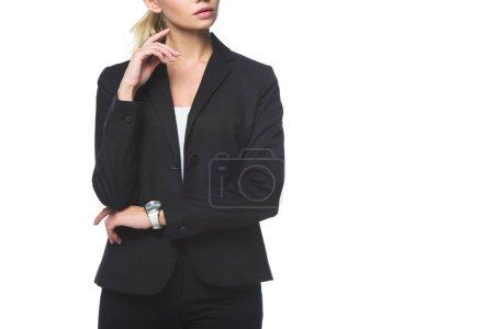 Photo pour Photo recadrée de jeune femme d'affaires en costume noir isolé sur blanc - image libre de droit