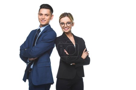Photo for Smiling successful business partners with crossed arms looking at camera isolated on white - Royalty Free Image