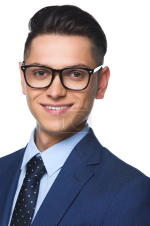 close-up portrait of young businessman looking at camera isolated on white