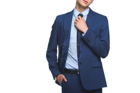 cropped shot of young businessman in stylish blue jacket isolated on white