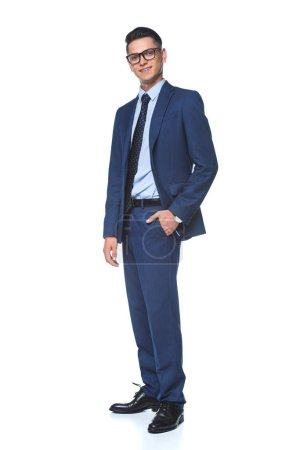 Photo for Handsome young businessman in stylish blue jacket looking at camera isolated on white - Royalty Free Image