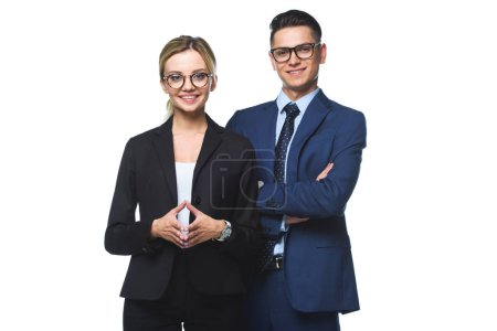 Photo for Young successful business partners looking at camera isolated on white - Royalty Free Image