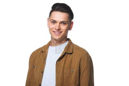 Photo pour Beau jeune homme en chemise élégante regardant caméra isolé sur blanc - image libre de droit
