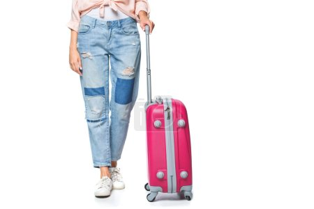 Photo for Cropped shot of travelling woman with luggage isolated on white - Royalty Free Image