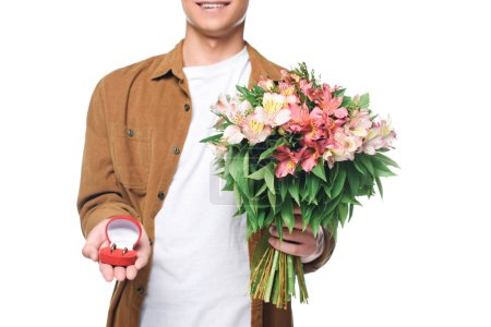 cropped shot of smiling young man with bouquet making proposal isolated on white