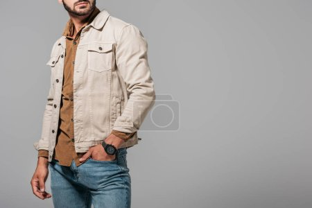 cropped view of male model in stylish autumn outfit, isolated on grey