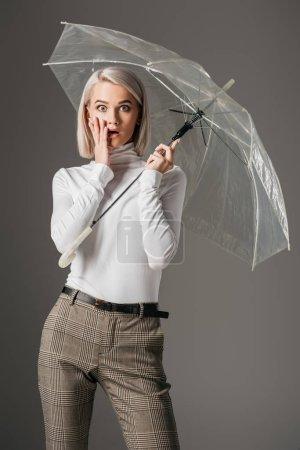 elegant shocked girl in white turtleneck posing with fashionable transparent umbrella, isolated on grey