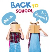 """classmates covering faces with books isolated on white, with """"back to school"""" lettering"""