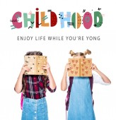 """classmates covering faces with books isolated on white, with """"childhood"""" lettering"""