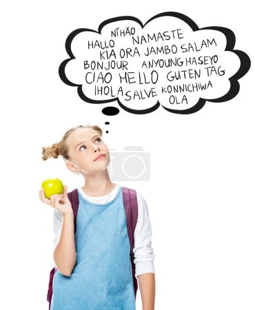 schoolchild holding apple and looking up at with words on different languages in speech bubble, isolated on white