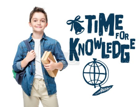"schoolboy holding backpack and books isolated on white, with globe and ""time to knowledge"" lettering"