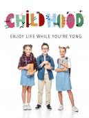 """happy classmates holding books and looking at camera isolated on white, with """"childhood"""" lettering"""