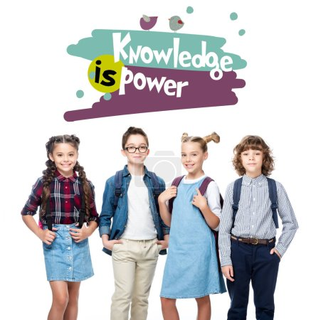 "cheerful schoolchildren looking at camera isolated on white, with ""knowledge in power"" lettering"