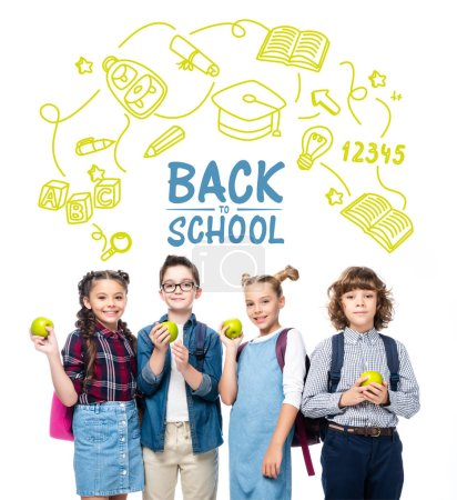 "smiling schoolchildren holding ripe apples isolated on white, with icons and ""back to school"" lettering"