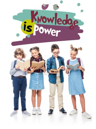 "classmates standing and reading books isolated on white, with ""knowledge in power"" lettering"