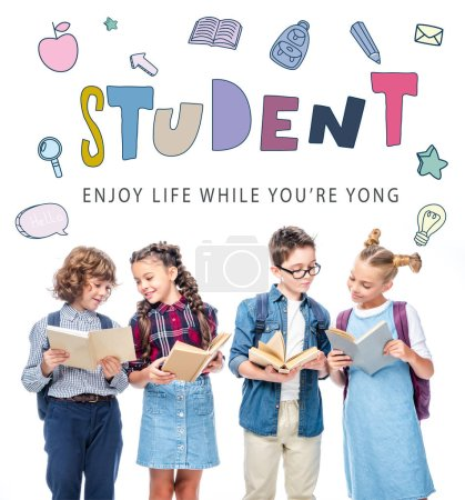 """Photo for Friends standing and reading books isolated on white, with """"student"""" lettering - Royalty Free Image"""
