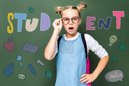 "shocked schoolchild touching glasses and looking at camera near blackboard, with icons and ""student"" lettering"