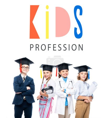 "schoolchildren in costumes of different professions and graduation caps isolated on white, with ""kids profession"" lettering"