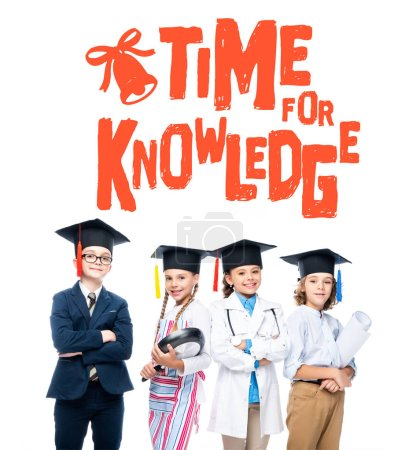 """Photo for Schoolchildren in costumes of different professions and graduation caps isolated on white, with """"time for knowledge"""" lettering - Royalty Free Image"""