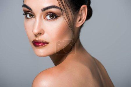 Photo for Portrait of stylish beautiful model, isolated on grey - Royalty Free Image