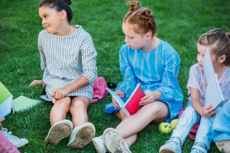 group of adorable schoolgirls spending time together on grass after school