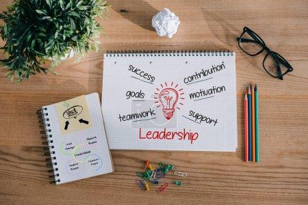 Photo pour Vue du dessus des cahiers avec des idées de leadership sur la table en bois dans le bureau - image libre de droit