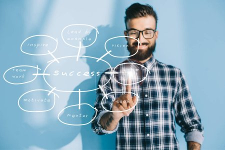 happy businessman in checkered shirt pointing at success plan