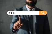 cropped view of professional developer in suit touching SEO search bar