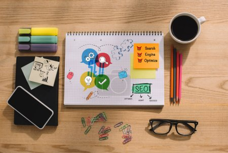Photo for Top view of office supplies, sticky notes and notebook with SEO - search engine optimization - Royalty Free Image