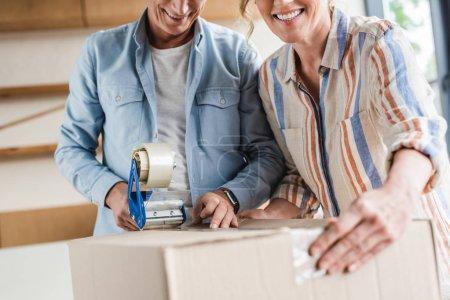 cropped shot of smiling senior couple packing cardboard box