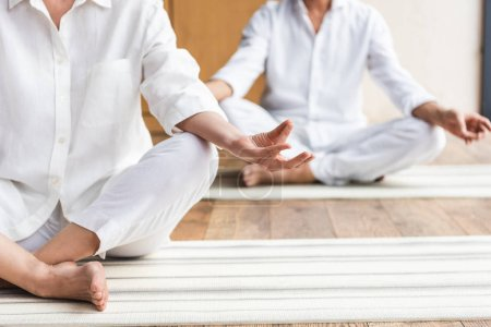 cropped shot of senior couple sitting in lotus position and practicing yoga together