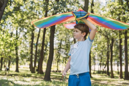 Photo for Cute little boy holding colorful kite and looking away in park - Royalty Free Image