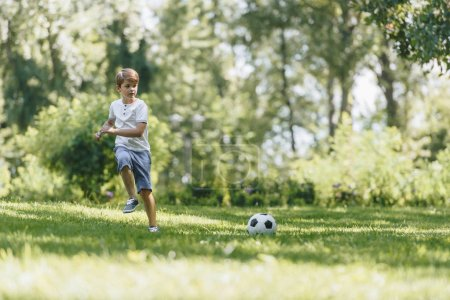 cute little boy running on grass and playing with soccer ball in park