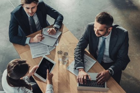 high angle view of successful business people working together at modern office