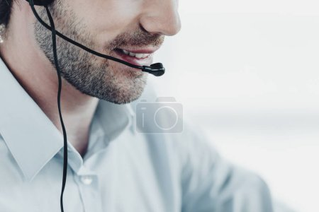 Photo for Cropped shot of smiling support hotline manager at work - Royalty Free Image