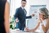 happy businessman pointing on flipchart during presentation in office