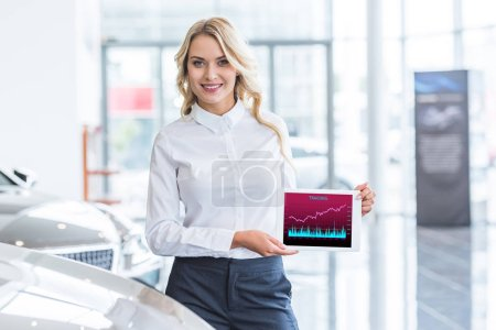 portrait of smiling seller showing tablet with trading sign in hands in dealership salon