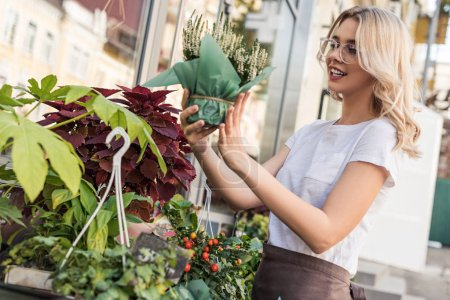 side view of attractive florist looking at potted plant near flower shop