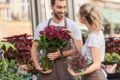 smiling florists talking and standing near flower shop with potted plant and burgundy roses