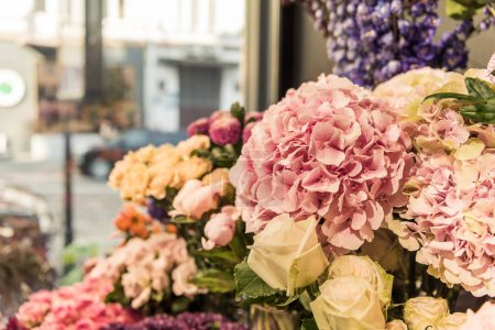 selective focus of beautiful flowers at flower shop
