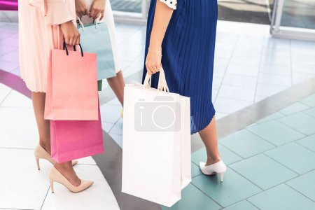 cropped shot of stylish girls holding paper bags in shopping mall