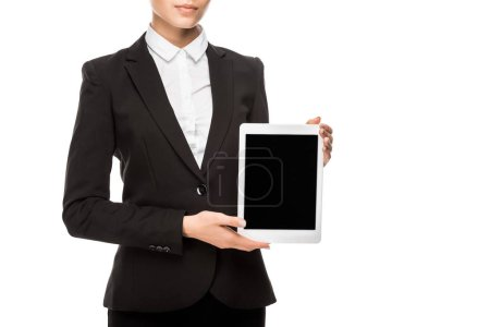 Photo for Cropped shot of smiling young businesswoman holding tablet and looking at camera isolated on white - Royalty Free Image