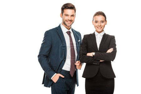 Photo for Successful young business partners in stylish suits looking at camera isolated on white - Royalty Free Image