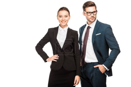 Photo for Attractive young business partners in stylish suits isolated on white - Royalty Free Image