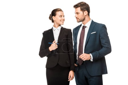 attractive young business partners flirting isolated on white