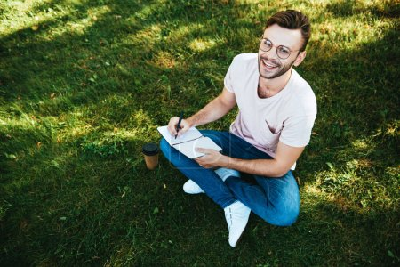 Photo for High angle view of smiling handsome man making notes on green grass in park and looking at camera - Royalty Free Image